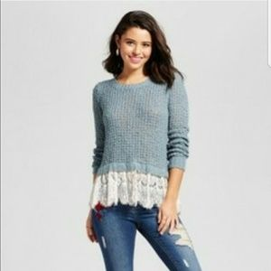 Blue Bell Teal Crocheted Lace Sweater